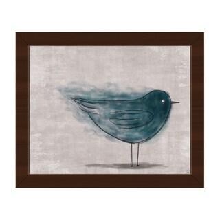 'Ether Bird Blue' Framed Canvas Wall Art