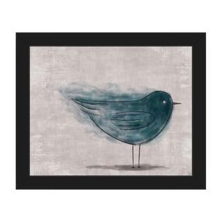 'Ether Bird Blue' Framed Canvas Wall Art Print