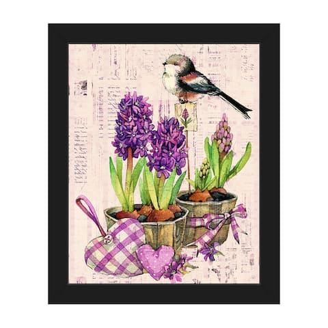 'Bird and Garden Flowers' Framed Canvas Wall Art