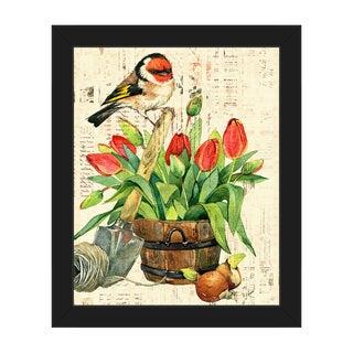 'Garden Bird and Red Tulips' Framed Canvas Wall Art