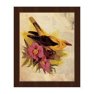 'Goldfinch Fuschia Flowers' Framed Canvas Wall Art