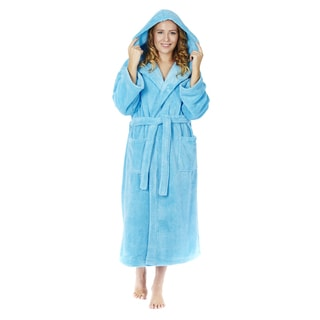 Women's Hooded Fleece Bathrobe Turkish Soft Plush Robe