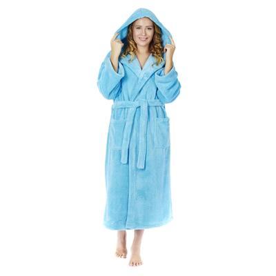 Women's Hooded Premium Fleece Full Length Bathrobe Turkish Soft Plush Robe
