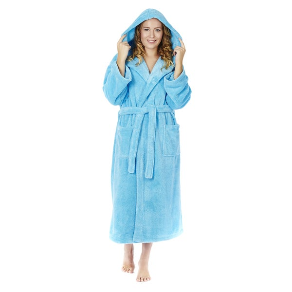 6011232d3c Shop Women s Hooded Fleece Bathrobe Turkish Soft Plush Robe - Free ...
