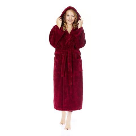 Women's Hooded Fleece Bathrobe Turkish Soft Plush Robe