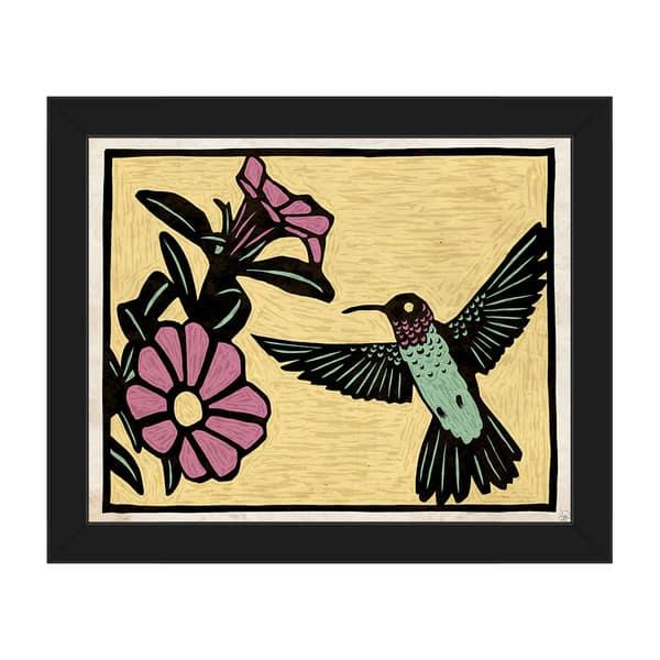 Woodblock Hummingbird Framed Canvas Wall Art Overstock 14172943