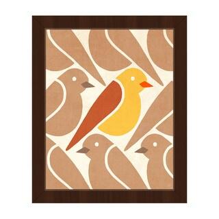 'Birds Birds Birds Yellow' Framed Canvas Wall Art