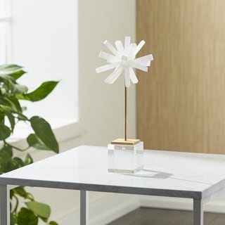 Benzara Selenite White Metal and Glass 13-inch Sphere Figurine