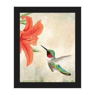 'Hummingbird Summertime' Framed Canvas Wall Art