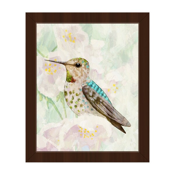 'Hummingbird Cherry Blossoms' Framed Canvas Wall Art