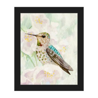 Hummingbird Cherry Blossoms Framed Canvas Wall Art