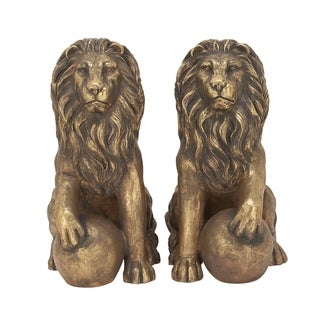Set of 2 Eclectic 32 Inch Imitative Lion Sculptures by Studio 350