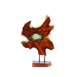 Carbon Loft Homer Black and Brown Teak and Resin Sculpture