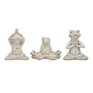 Benzara White Polystone Frog Figurine Set (Pack of 3)