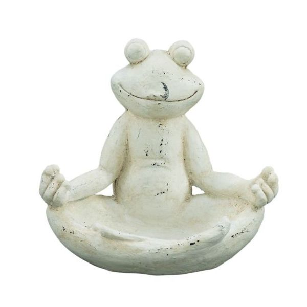 Benzara White Resin Polystone Frog Statue