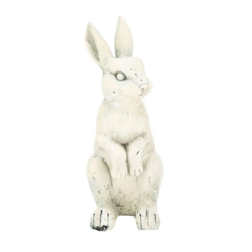 Benzara White Polystone 18-inch Rabbit Figurine