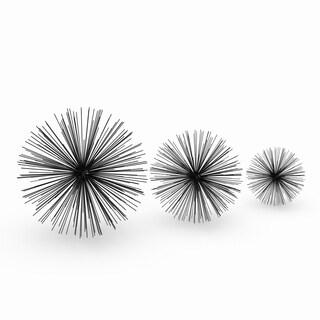 Benzara Black Metal Wire Orbs (Pack of 3)