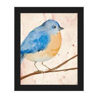 'Pink Watercolor Bird' Framed Canvas Wall Art Print