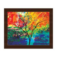 'Impasto Oak' Amber-framed Canvas Wall Art Print