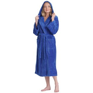 Women's Hooded Satin Touch Fleece Turkish Soft Plush Bathrobe