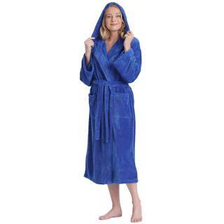 Women's Hooded Satin Touch Fleece Turkish Soft Plush Bathrobe|https://ak1.ostkcdn.com/images/products/14173081/P20772076.jpg?impolicy=medium
