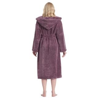 Women's Hooded Satin Touch Fleece Turkish Soft Plush Bathrobe