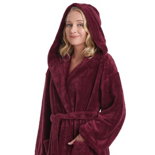 Women's Hooded Satin Touch Fleece Turkish Soft Plush Bathrobe (More options available)