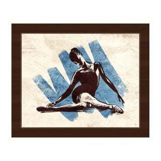 Stretching Ballerina Blue/Brown Framed Canvas Wall Art