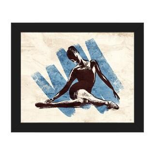 'Stretching Ballerina Blue' Framed Canvas Wall Art
