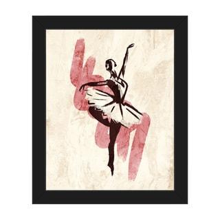Gestural Ballerina Pink Framed Canvas Wall Art