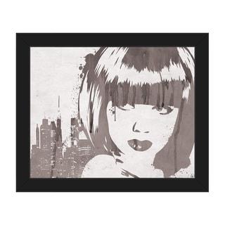 Lusty Drippy Grey Framed Canvas Wall Art Print
