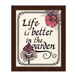 'Life Is Better in the Garden' Framed Canvas Wall Art