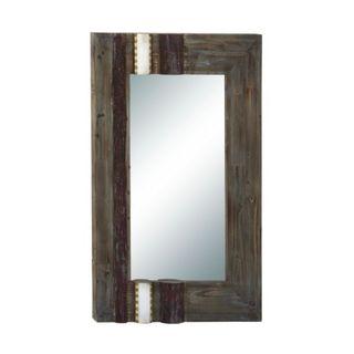 Benzara Brown Wood Wall Mirror
