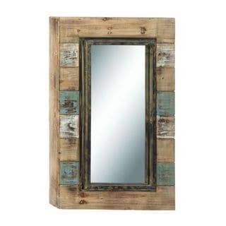 Benzara Wood 28-inch Wide x 47-inch High Wall Mirror