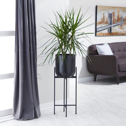 Contemporary 36 x 12 Inch Matte Black Iron Floor Planter by Studio 350