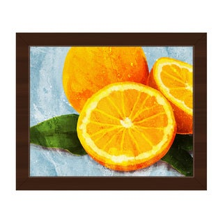 'Painted Oranges on Blue' Framed Canvas Wall Art