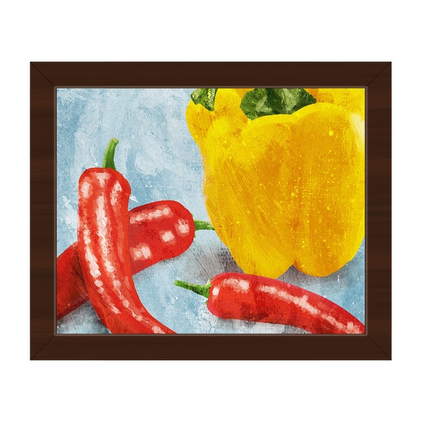 Painted Peppers on Blue Framed Canvas Wall Art - Free Shipping Today ...