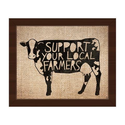 'Local Farmers Cow on Burlap' Framed Canvas Wall Art