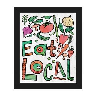 'Eat Local Alpha' Framed Canvas Wall Art Print