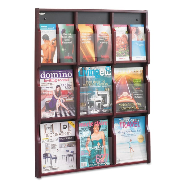 Safco Expose Adj Magazine/Pamphlet Nine Pocket Display 29-3/4-inch wide x 38-1/4-inch high Mahogany