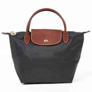 Longchamp Le Pliage Small Gun Grey Nylon, Leather Tote Bag