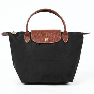 Longchamp Le Pliage Black Nylon and Leather Small Black Tote Bag