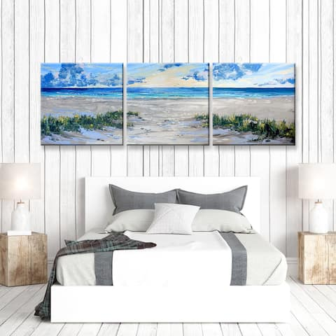 Porch & Den Deep Breathe' 3-Pc Canvas Coastal Art Set