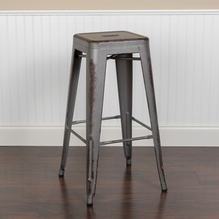 30'' High Backless Distressed Metal Indoor-Outdoor Barstool