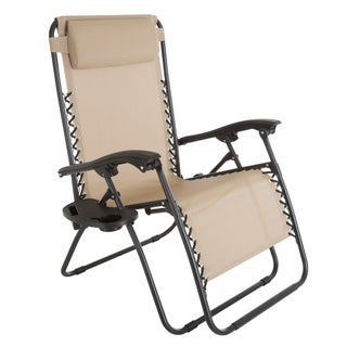 Zero Gravity Outdoor Reclining Foldable Lounge Chair with Pillow Headrest and Cup Holder Pure Garden