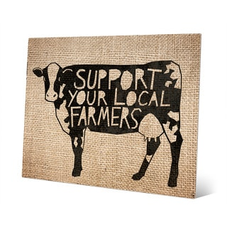 'Local Farmers Cow - Burlap' Metal Wall Art Print