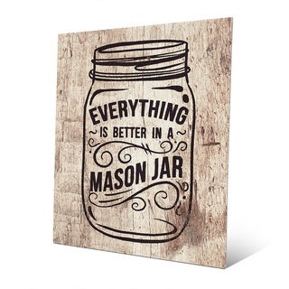 'Better in a Mason Jar - Light Wood' Metal Wall Art