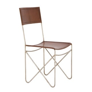 Metal Leather Brown Chair