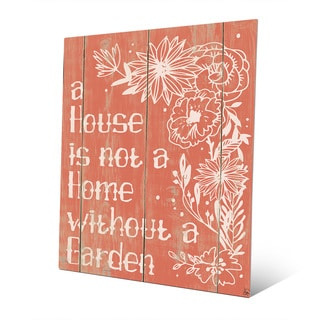 Home With A Garden Red Wall Art Print on Metal