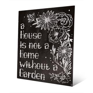 'Home With a Garden' Chalkboard Metal Wall Art